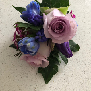 Corsage with rose and delphinium