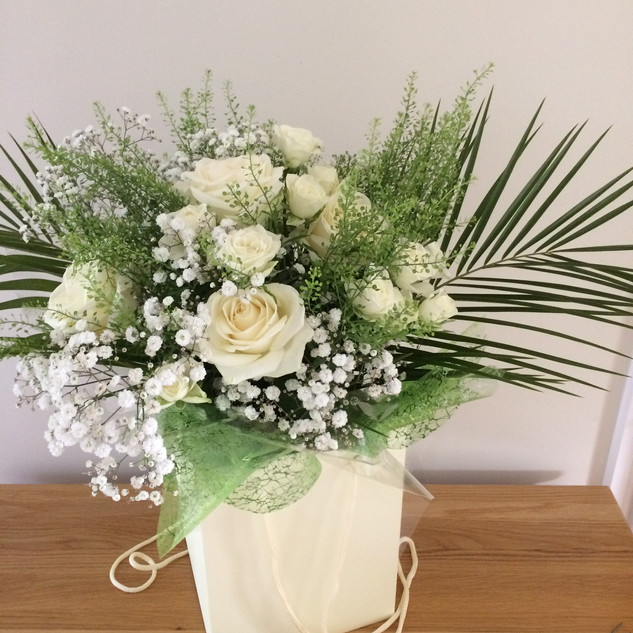 Natural greens and whites hand-tied