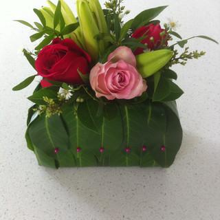 Handbag lillies and roses