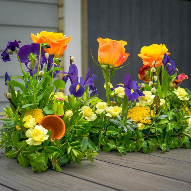 Garden design with flower pot