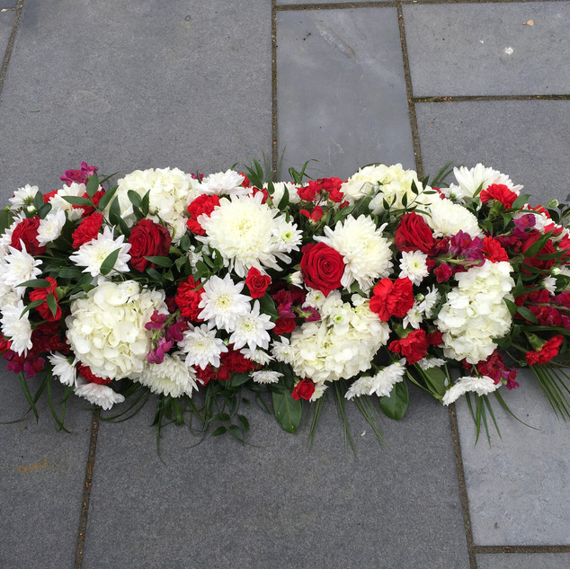 Hydrangea blooms red/white coffin