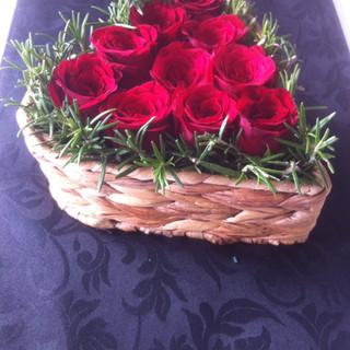 Romantic rose basket