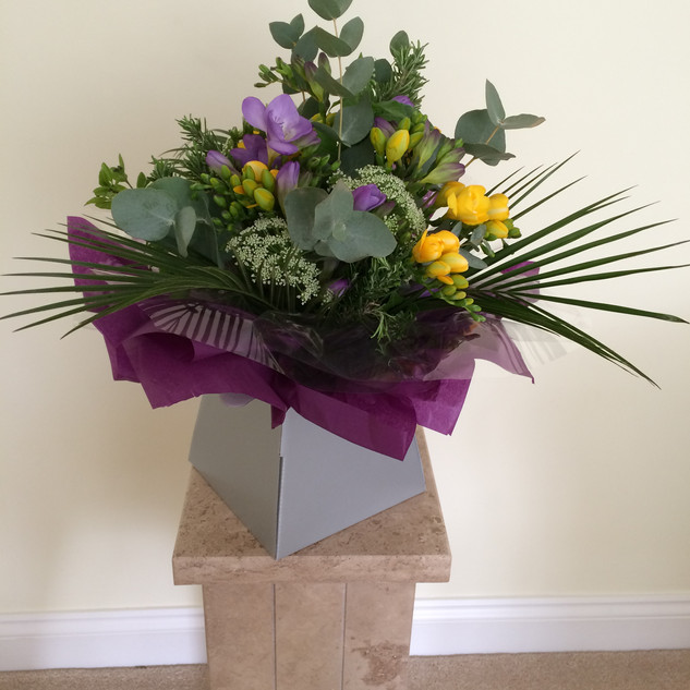 purples and yellows hand-tied