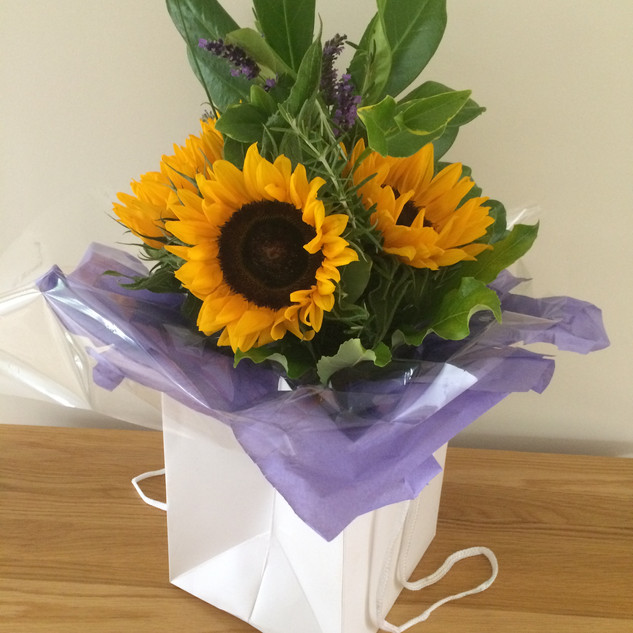 Sunflowers with bag