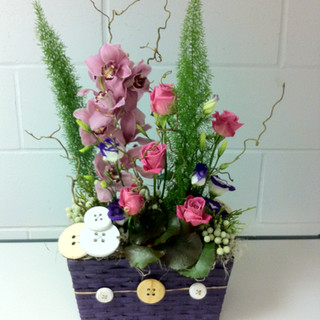 Orchid basket with buttons