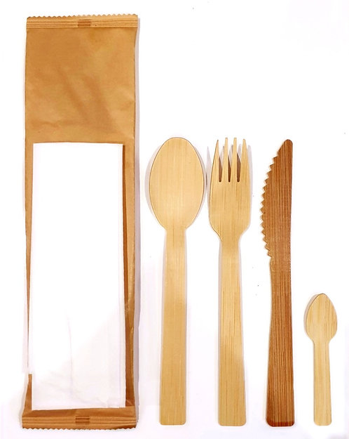 Cutlery Set Bamboo in Wrapping (Box of 500)