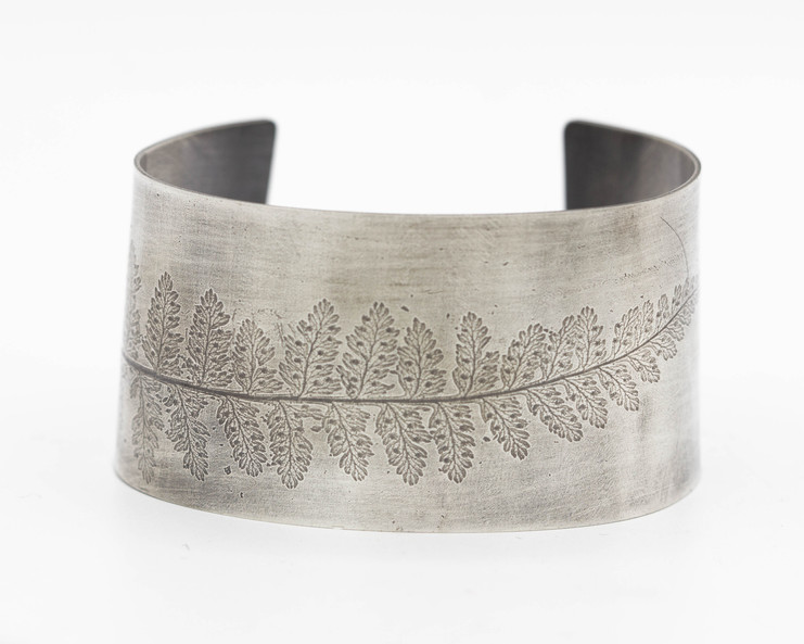 Sterling Cuff with Fern Imprint 6.5