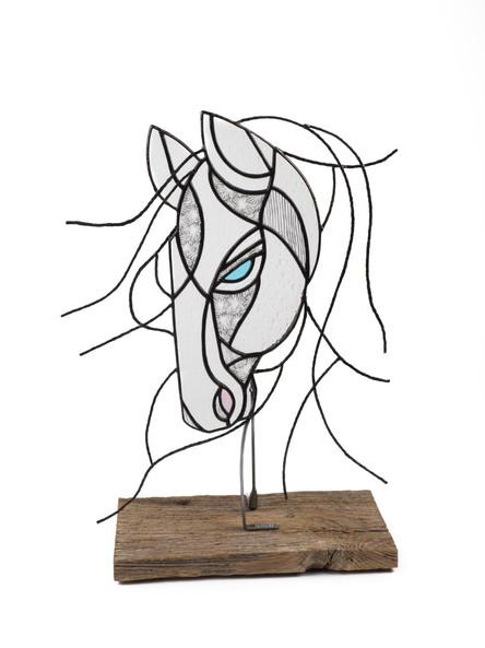 """Structure tête de cheval avec tiges d'acier martelées 15"""" X 11"""""""