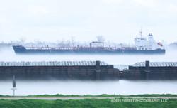 Ship Docked in Fog