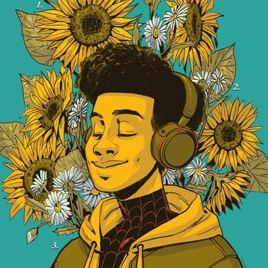 Miles Morales Flower Card
