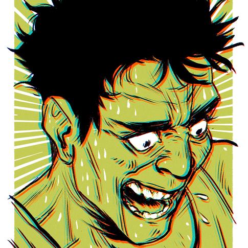 Screaming (in green)