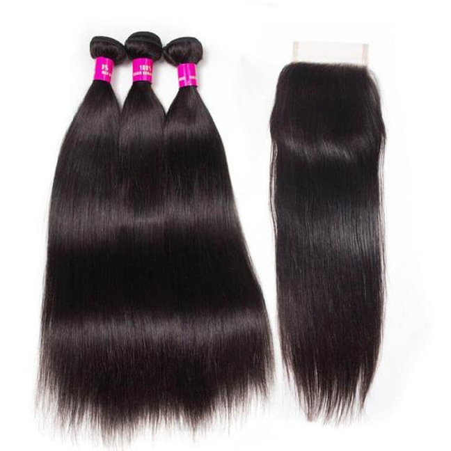 4x4 lace closure w 3 silky straight bundles hairmeplease