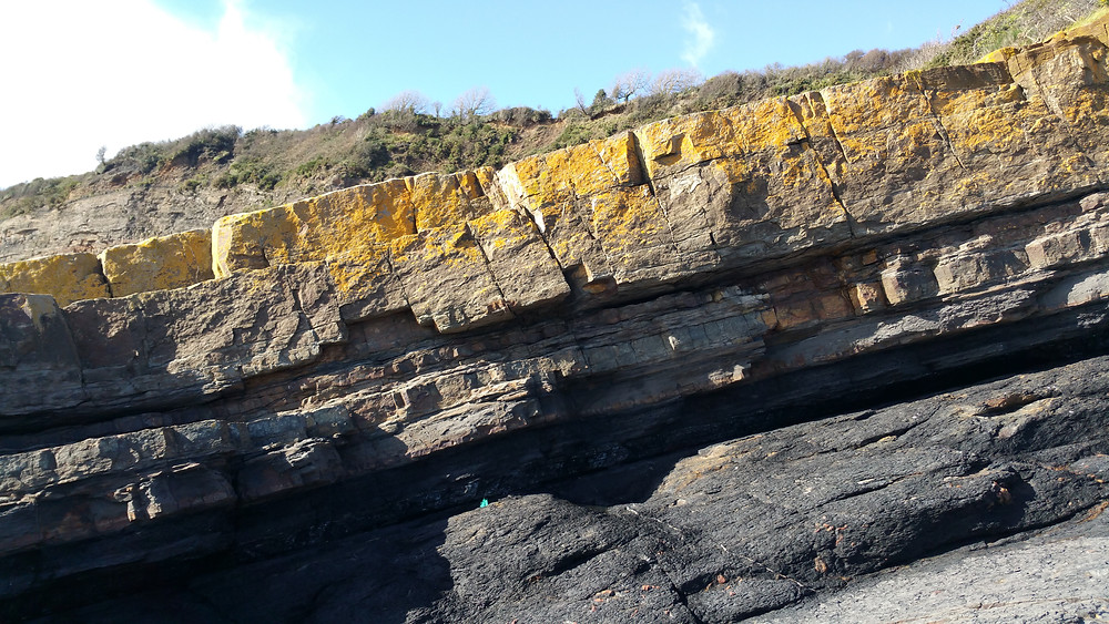 Wisemans Bridge cliff face, with seams of coal