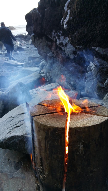 Swedish fire log to keep warm on the beach