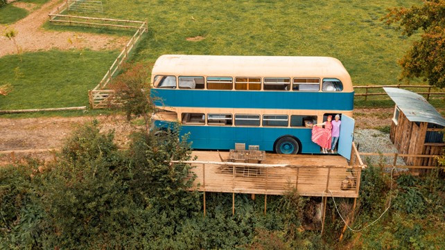 Top of the Woods - Eco Camping & Glamping - Pembrokeshire - Wales UK - Double Decker Bus Ceriwden Centre- Kingit