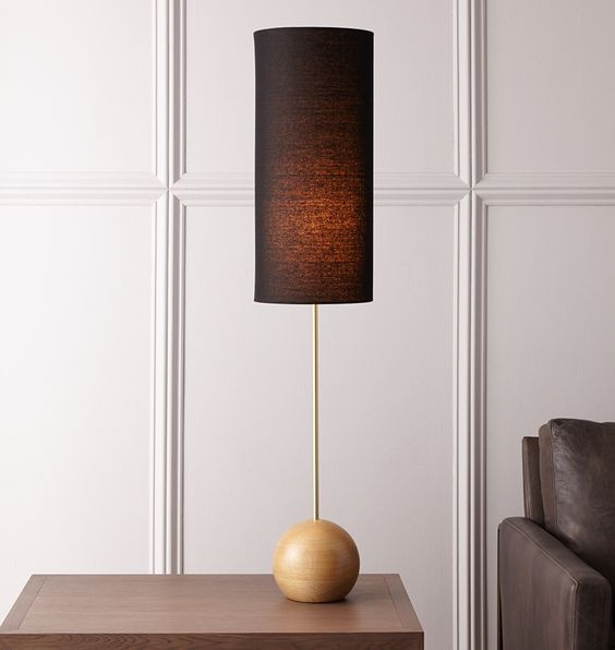 wooden sculptural table lamp