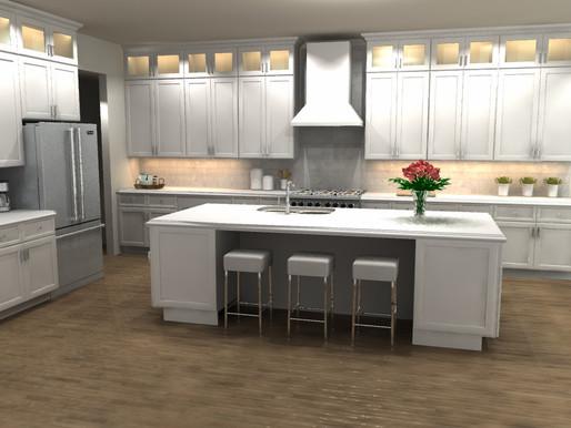 3D Rendering: White Kitchen