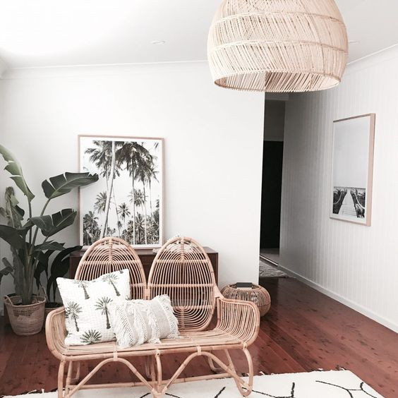 boho chic living room with lightly woven elements