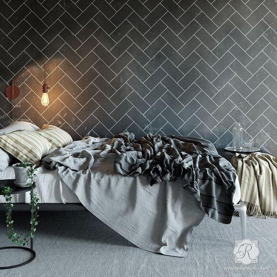 Black Brick Patterned Walls in bedroom