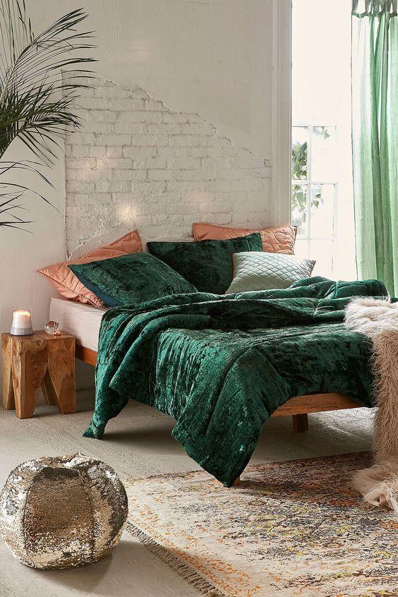 green velvet comforter