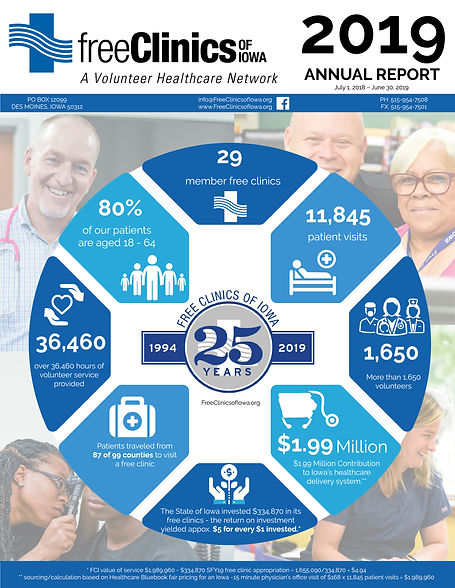 Free Clinics of Iowa 2019 Annual Report front