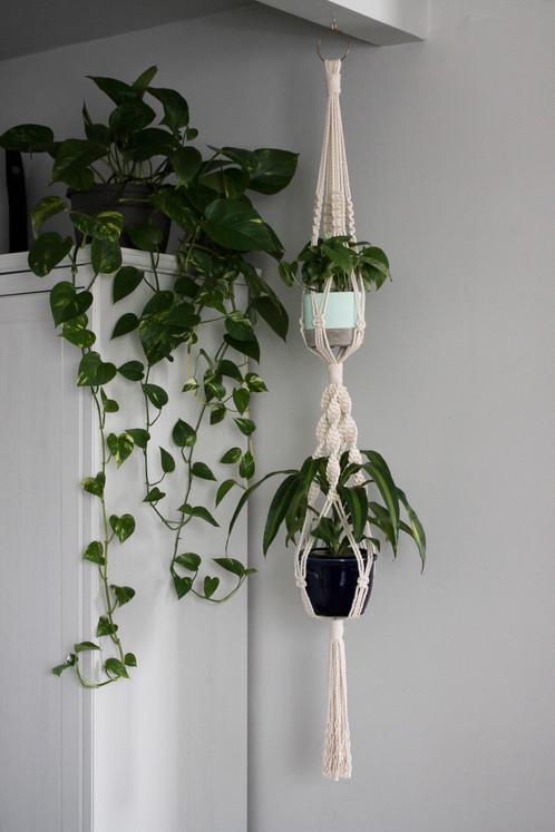 Double Macrame Plant Hanger Toronto Canada Urban Jungle Design