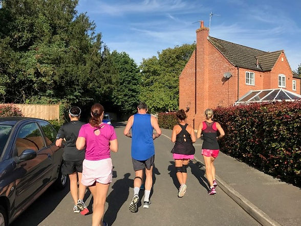 Runners setting off from our house