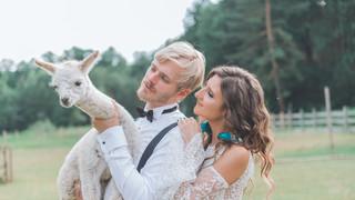 Monika i Łukasz- Siewierz (sesją ślubna z alpakami)