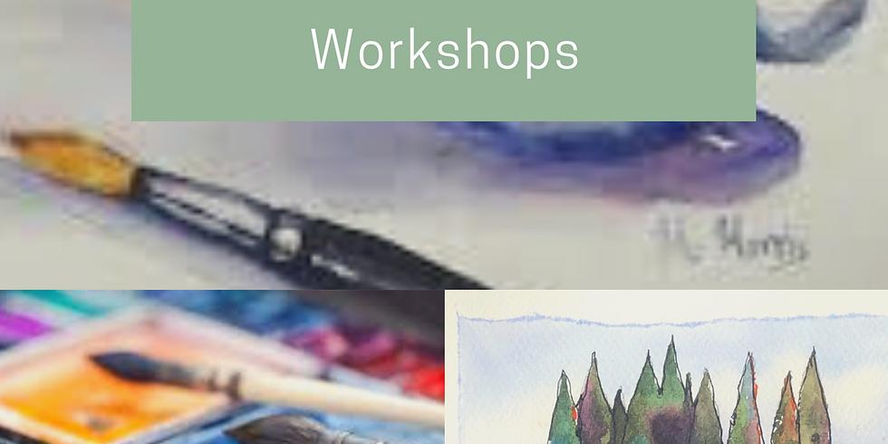 Sraith Ceardlanna ar Uiscedhathanna ar-líne/A Series of Watercolour Workshops on-line