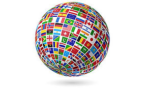 Globe covered in flags of all nations.