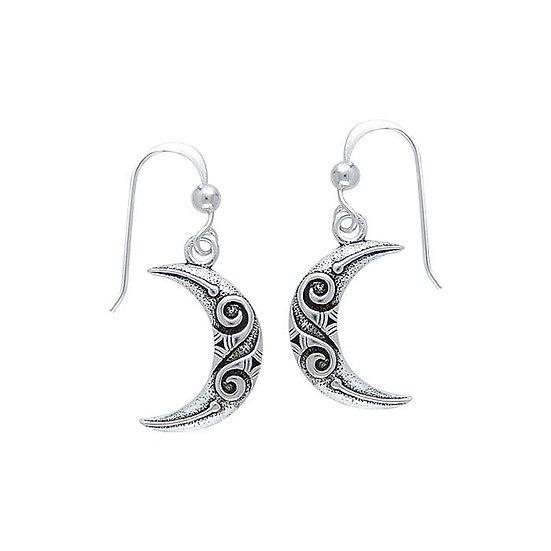 Celtic Spiral Moon Silver Earrings