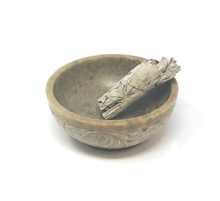 Soapstone Scrying & Smudge Bowl, Leaves Carving