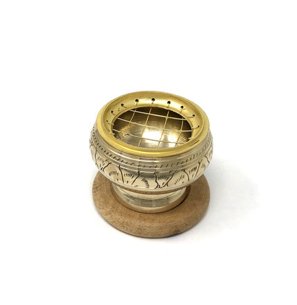 Brass Charcoal Burner with Coaster