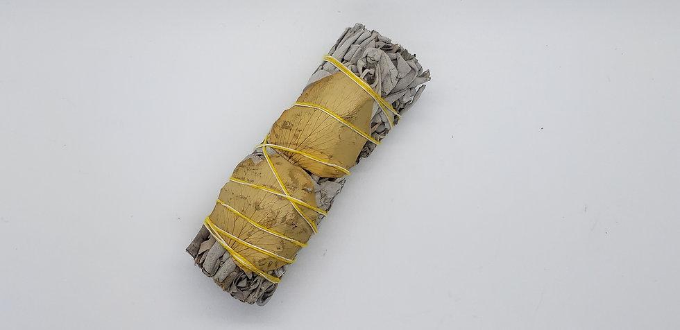 White Sage & Yellow Rose Petals Smudge Stick