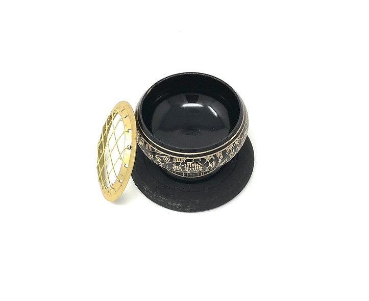 Brass Charcoal Burner with Coaster Black