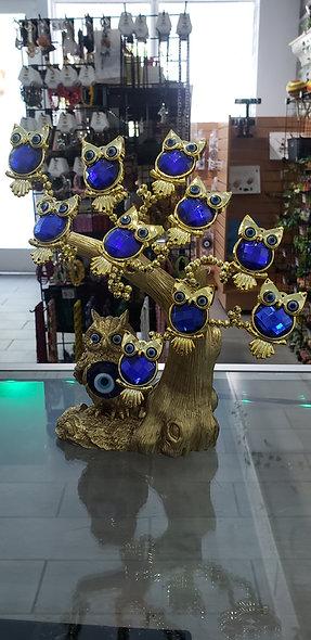 Gold Owl Evil Eye Tree