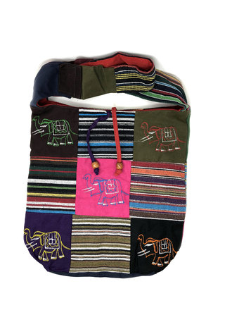 Cotton Hand Bag / Shopping Bag Embroidery Patchwork Elephant