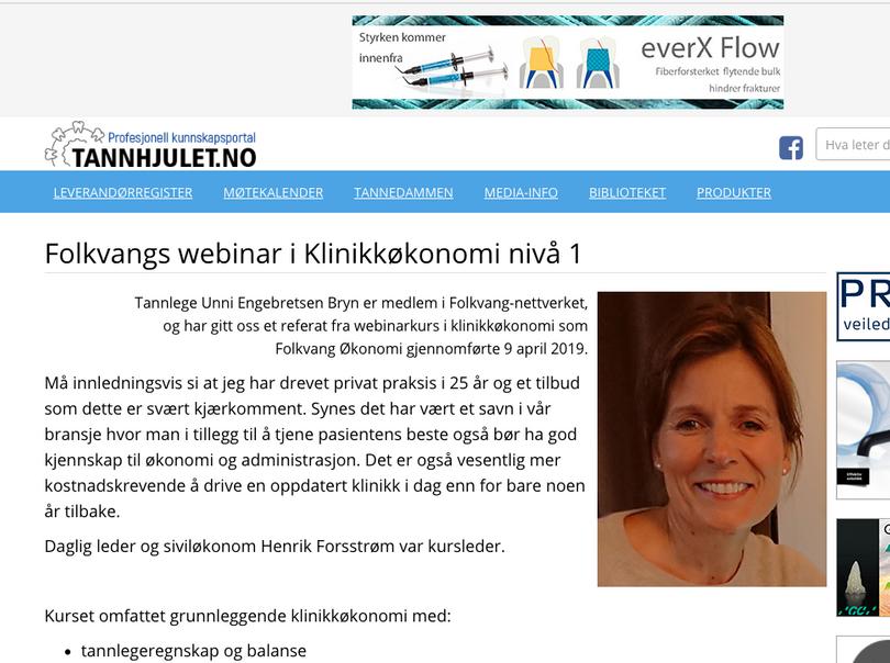 Tannhjulet: Referat Webkurs Klinikkøkonomi