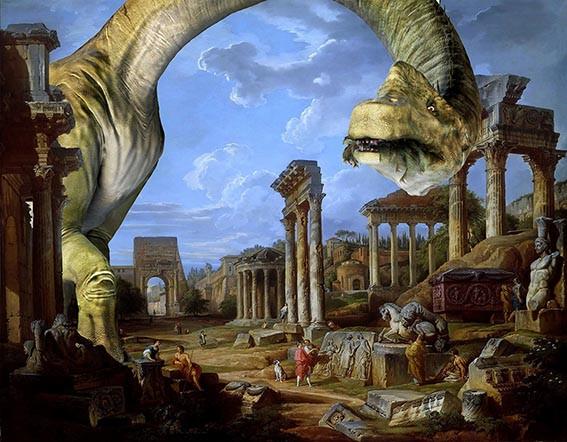 Multiverso. Paisaje con Braquiosaurio