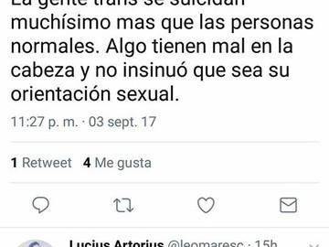 """""""La gente trans se suicida muchísimo más que las personas normales"""" dice Lucius Artorius en su cuent"""