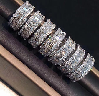 moissanite stack ring emerald cut eco-friendly ring confict-free moissy custom rings