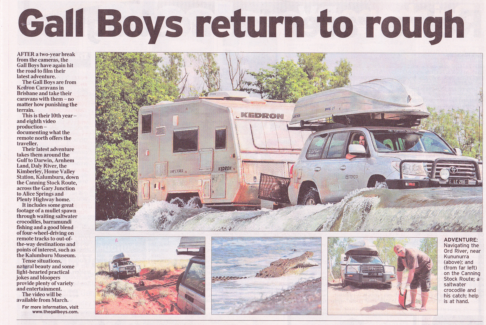 Courier Mail article - Gall Boys KEDRON Caravans
