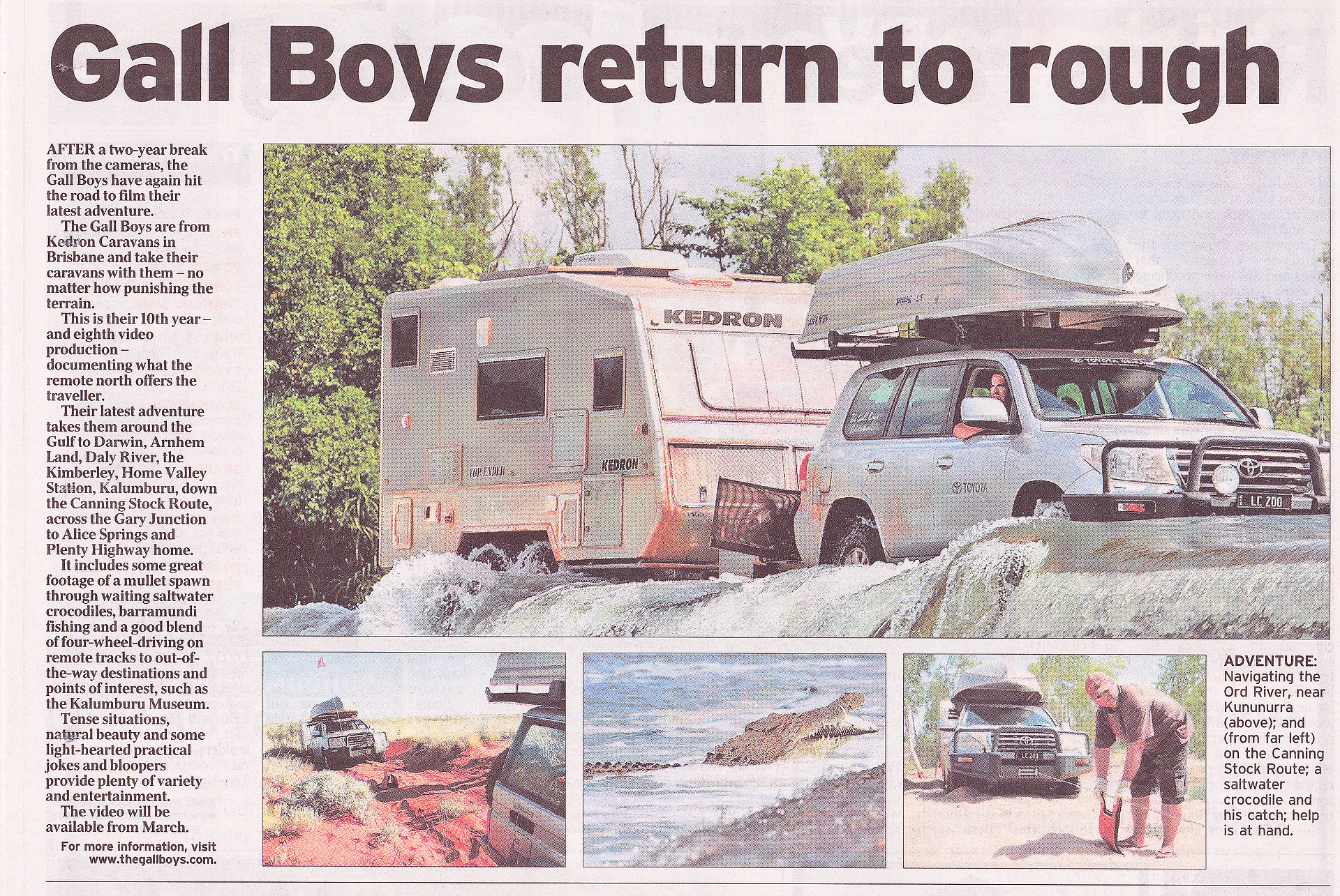 Courier Mail article - KEDRON Caravans - The Gall Boys ©️