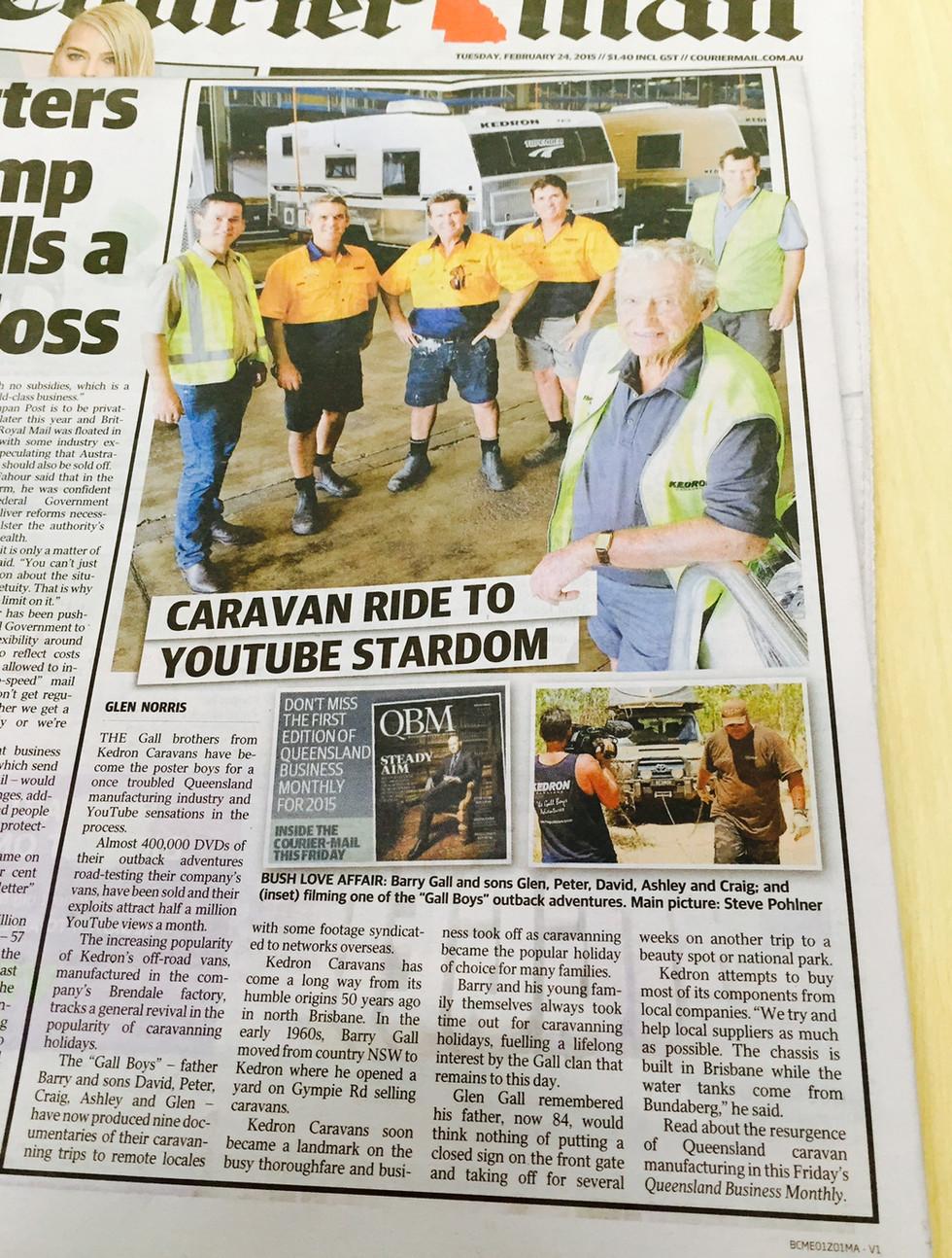 Courier Mail - 24.02.2015 - KEDRON Caravans - The Gall Boys ©️