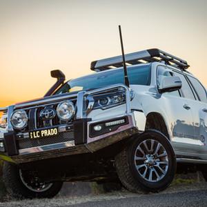 Toyota Prado with Genuine front alloy bar , snorkel & Uniden UHF antenna