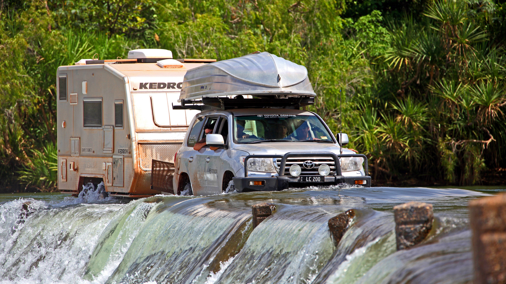 Toyota LC200 towing across the Ord River Crossing -  - KEDRON Caravans - image Glen Gall ©️