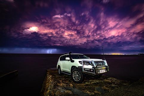 Toyota Prado - Lightning shot - post storm, sunset under - ©️Glen Gall