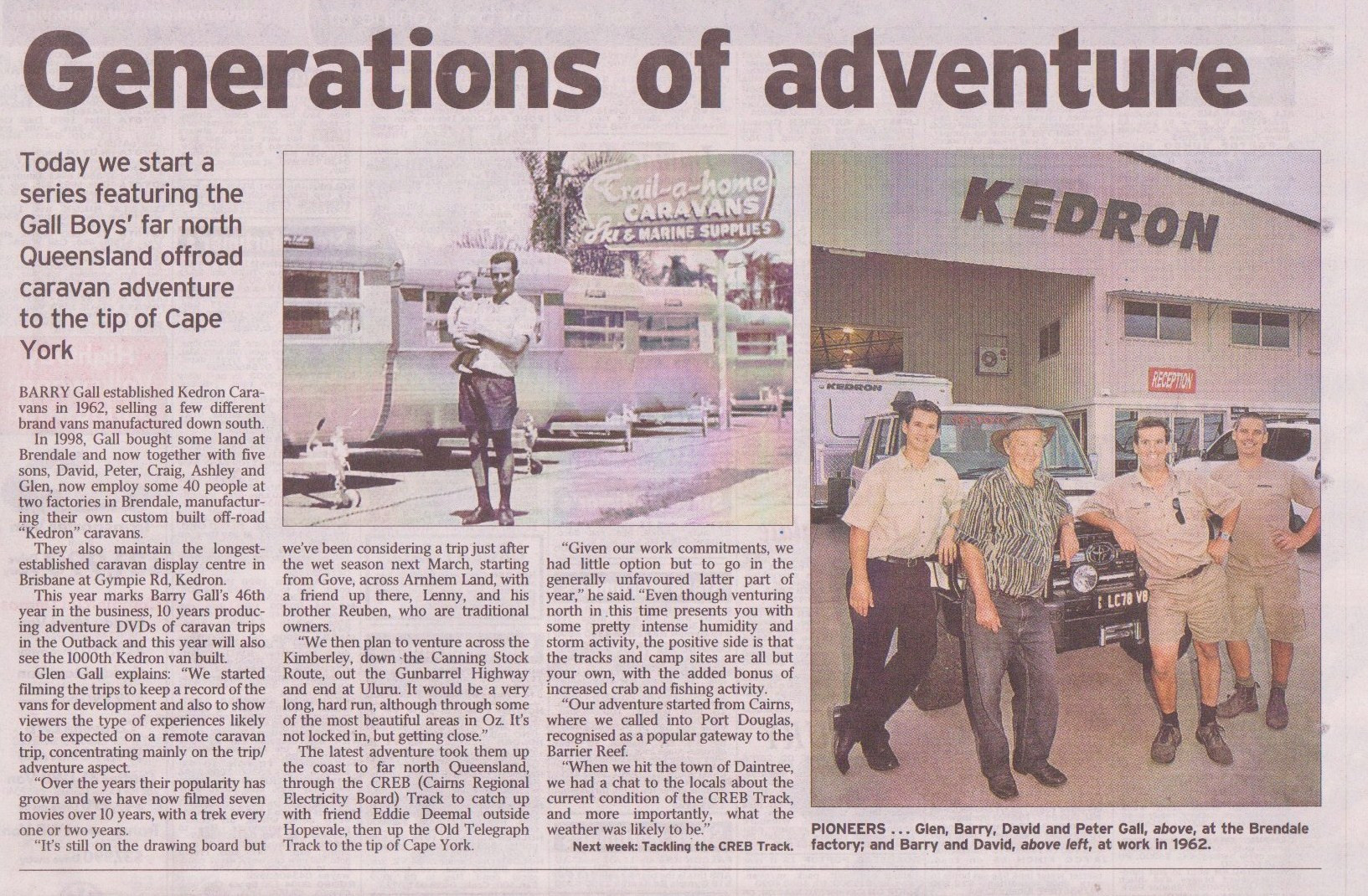 Courier Mail - Generations of adventure - Gall Boys KEDRON Caravans