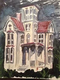 Artist Oscar Bråne. Dark haunted house. Grass Shadows.