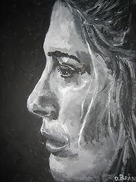 Artist: Oscar Bråne. Woman listening to sad music on a dark day.